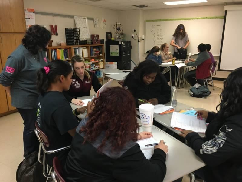 Students in Telise Murray's OnRamps Pre-Calculus class work on assignments.