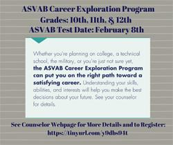 The ASVAB Career Exploration Program Test to be Held at BHS on February 8th