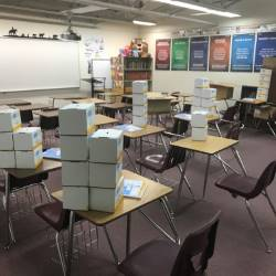 Classroom with boxes donations